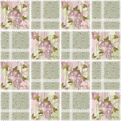 Patchwork seamless lace retro flowers pattern