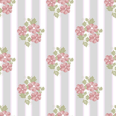 Pink flowers seamless pattern on striped
