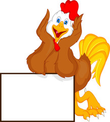 cute rooster cartoon with blank sign
