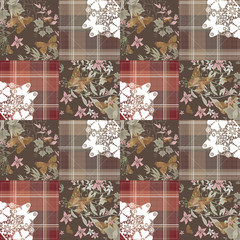 Patchwork seamless retro pattern with buterflies checkered