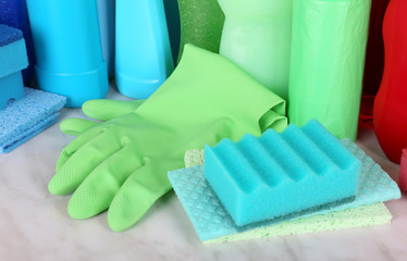Cleaning products close up