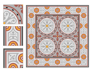 vintage square paving tiles patterns with example