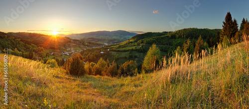 Spring mountain panorama in Slovakia with sun