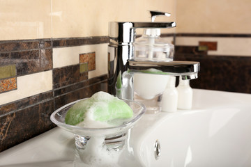 Bar of soap in bathroom