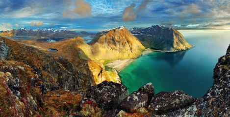 Beach, mountain landscape Norway - Lofoten