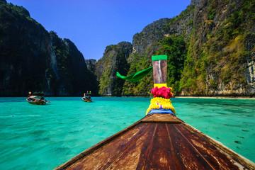 longtail boat in Maya bay on Koh Phi Phi Leh Island,Thailand