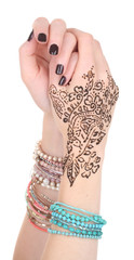 Hands painted with henna, isolated on white