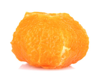 Orange without skin, isolated on white