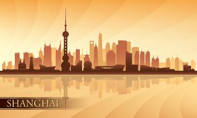 Shanghai city skyline silhouette background