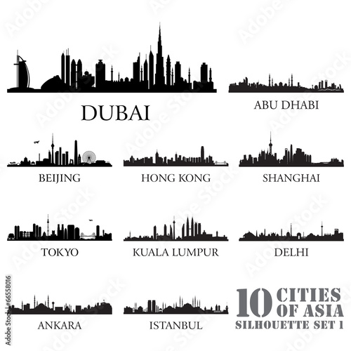 Set of skyline cities silhouettes. 10 cities of Asia #1