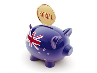 New Zealand Social Concept Piggy Concept