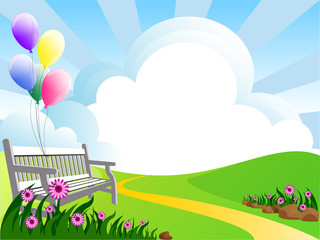 illustration of landscape with  flowers clouds and balloons