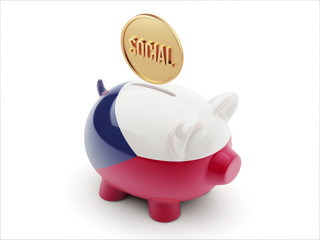Czech Republic Social Concept Piggy Concept