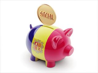 Andorra Social Concept Piggy Concept