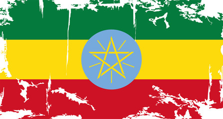 Ethiopia grunge flag. Vector illustration