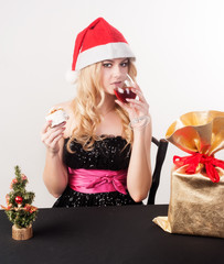 blond woman with gift bag