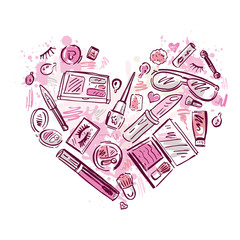 Heart of Makeup products set.