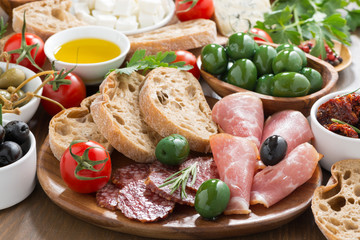 assorted Italian antipasti - deli meats, fresh cheese, olives