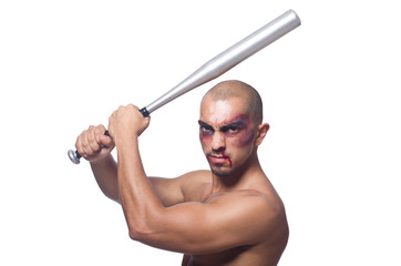 Ripped man with baseball bat on white