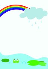 虹 雨雲 カエル