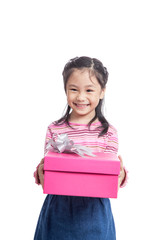 Asian little girl give a gift box and smile
