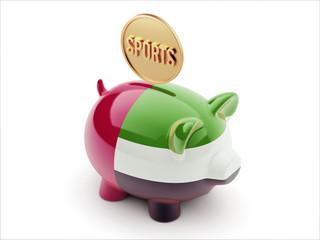 United Arab Emirates. Sports Concept Piggy Concept