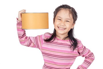 Asian little girl hold a  big bucket and smile