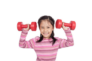 Asian little girl hold  dumbbells with both hand