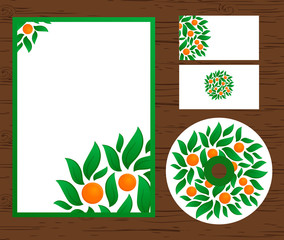 identity template with oranges and leaves