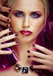 beauty woman with creative make up, many fingers on face