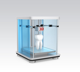 3D printer and human teeth for dental practice concpet