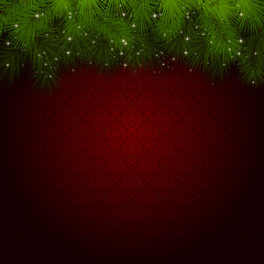 Red background with Christmas tree