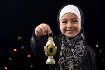 Happy Muslim Girl Celebrating Ramadan