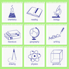 Set of hand drawn icons for school educational subjects