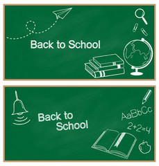 Banners with hand drawn school items chalked on blackboard