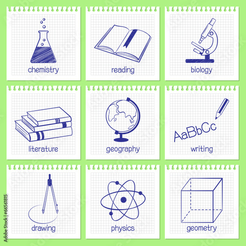 Set of hand drawn icons for school educational subjects - 66561815