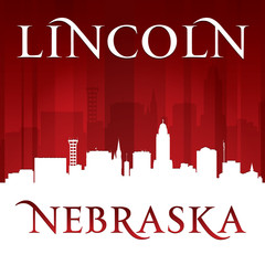 Lincoln Nebraska city silhouette red background