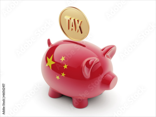 China Tax Concept Piggy Concept