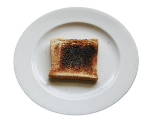 Burnt toast bread slice on dish ,isolated white backround