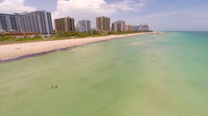 Shores of Miami Beach aerial video
