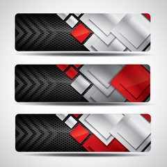 Banner set with carbon background and red elements