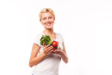 portrait of attractive caucasian smiling woman eating salat