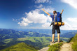 Tourist on peak. Sport and active life concept