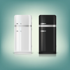 Collection of stylish retro refrigerators