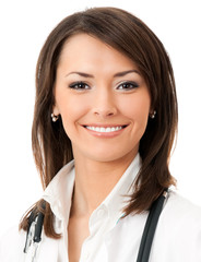 Cheerful female doctor, over white background