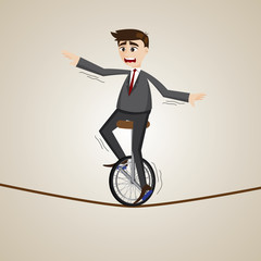 cartoon businessman riding unicycle on rope