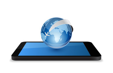 smartphone with globe and plane