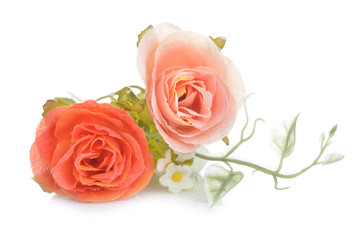 Rose, artificial flowers isolated on white background