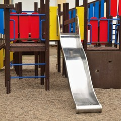 Slide from crawl construction on modern kids playground