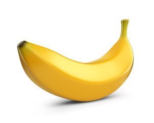 Banana fruit, 3D icon. Illustration isolated on white background